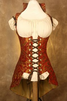 Rust and Gold Lady Pirate Steampunk Corset Bodice Tail Coat. $155.00, via Etsy.