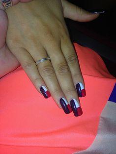 Texas flag nails Cute Nails, Pretty Nails, Hollywood Nails, Texas Nails, Texas Crafts, Flag Nails, Nail Time, North Hollywood, Cute Nail Designs