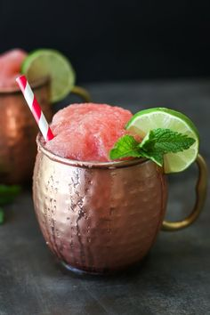 The summer's hottest cocktail gets an updated twist for fall, try a refreshing frozen watermelon Moscow mule!