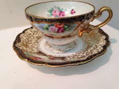 Absolutely STUNNING Vintage Chubu China Occupied Japan Footed Tea Cup and Saucer Set. Incredible floral motif hand painted and outlined in gold. Ready to ship worldwide! Tea Cup Set, Cup And Saucer Set, Tea Cup Saucer, Tea Sets, Wedding China, China Dinnerware, Vintage Tea, Floral Motif, Drinking Tea