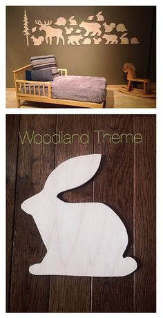 Woodland Theme Nursery - Wall Art Each collection features hand-picked plywood construction and comes with adhesive backing for easy installation. Layout as pictured is approximately 6 feet long and 2 feet high. Because we use natural materials no two pieces are the same. A sanded finish comes standard.