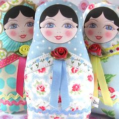 Fabric Nesting doll. (Make paper versions using template).