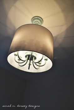 sarah m. dorsey designs: Chandelier Pendant with Drum Shade for Guest Room