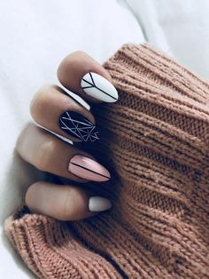 White nails, white almond nails, pink black nails, pink white, geometric na Pink Black Nails, White Almond Nails, White Nails, Pink White, Black White, Fun Nails, Pretty Nails, Nagel Stamping, Minimalist Nails