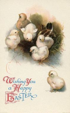 Vintage Easter Postcard Wishing you a Happy by sharonfostervintage