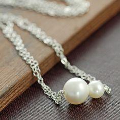 Día de la madre collar de perlas mamá y bebé collar en plata