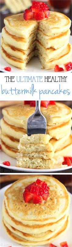 The Ultimate Healthy Buttermilk Pancakes -- so light & fluffy! #Rezept #breakfast #Frühstück #recipe