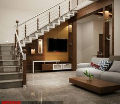Tv Cabinet Under Staircase Design Staircase Design Modern, Home Stairs Design, Bungalow House Design, House Front Design, Railing Design, Interior Stairs, Home Room Design, Modern House Design, Living Room Designs