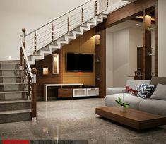 Tv Cabinet Under Staircase Design Duplex House Design, Bungalow House Design, Staircase Design Modern, Small House Elevation Design, Living Design, Home Room Design, Stairs In Living Room, Modern Houses Interior, Room Design