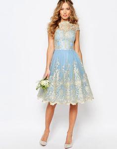Image 4 ofChi Chi London Premium Metallic Lace Midi Prom Dress with Bardot Neck