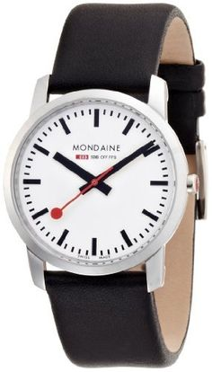 Mondaine Women's A672.30351.11SBB Simply Elegant Leather Band Watch Mondaine. $302.55. Water resistant up to 99 ft depth. Swiss quartz movement. Case diameter:36 mm. Durable saphire crystal. Stainless steel case