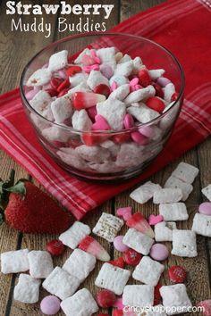 Strawberry Muddy Buddies for Valentine's Day! (Cincy Shopper)