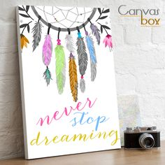 Canvas Box Uk - Never Stop Dreaming Dream Catcher Quote Canvas Print, £18.99 (http://www.canvasboxuk.co.uk/never-stop-dreaming-dream-catcher-quote-canvas-print/)