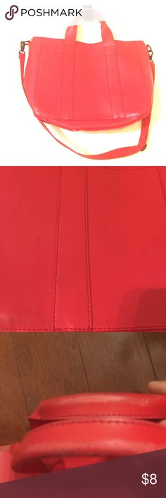 Red 💯 leather Gap cross body bag Bright red Gil all bag, has some wear and a few scratches but bag is still good and has life to it. GAP Bags Crossbody Bags