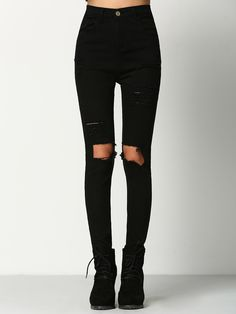Shop Black Skinny Ripped Denim Pant online. SheIn offers Black Skinny Ripped Denim Pant & more to fit your fashionable needs.