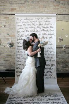 Use the lyrics to your first dance song as a photo backdrop. | 11 DIYs For A Dreamy Wedding