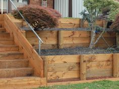 Garden steps on a slope retaining walls landscaping coolest side yard retaining wall hardscape design on a sloped hill ryans - Savvy Ways About Things Can Teach Us Sleeper Retaining Wall, Wood Retaining Wall, Retaining Wall Design, Building A Retaining Wall, Gabion Wall, Landscaping Retaining Walls, Hillside Landscaping, Landscaping Ideas, Cheap Retaining Wall