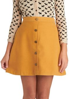 Back to Scholastic Skirt in Pencil Yellow - Short, Yellow, Solid, Buttons, A-line, Exclusives, Pockets, Casual, Scholastic/Collegiate, 60s
