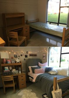8. This student at La Salle University transformed her dorm room using string lights and fluffy pink pillows.