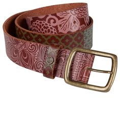 embossed pattern and print, antique metal buckle, shades