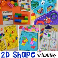 2D Shapes activities for preschool, pre-k, and kindergarten. Shape mats (legos, geoboards, etc), play dough mats, posters, sorting mats, worksheets, & MORE.