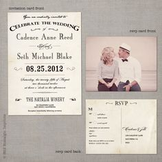 vintage wedding invataitons | Vintage Wedding Invitation the Cadence by NostalgicImprints