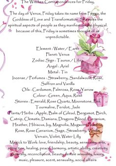 The Witches Correspondences for Friday,