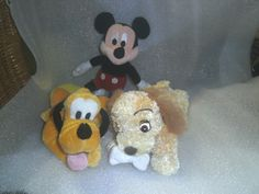 Disney - Mickey Mouse - Pluto & Lady and the Tramp - 3 Disney soft toys Lady And The Tramp, Disney Mickey Mouse, Snoopy, Tv, Fictional Characters, Animals, Ebay, Animaux, Animal