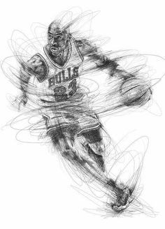Artist Vince Low has turned once-aimless doodling into Scribble Art, which is an advanced art form of penmanship. Described as Scribbles with life, Vince Low's works are invariably in portrait form. Basketball Drawings, Sports Drawings, Basketball Art, Pencil Art, Pencil Drawings, Art Drawings, Arte Michael Jordan, Vince Low, Scribble Art