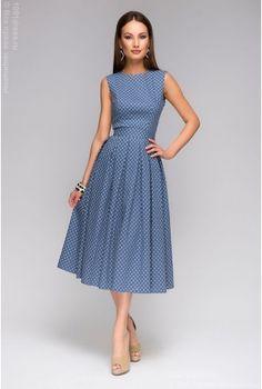 """Синее платье длины миди с принтом """"ромашки"""" и открытой спинкой"""