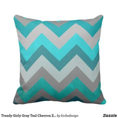 Trendy Girly Gray Teal Chevron Zigzag Pattern Throw Pillows: Trendy girly aztec chevron gray green and teal zigzag pattern .A unique chic modern chevron pattern design background. The perfect cool gift idea for her on any occasion. Custom Pillows, Decorative Throw Pillows, Teal Pillows, Chevron Pillow, Personalized Pillows, Teal Chevron, Aqua, Teal And Grey, Gray Green