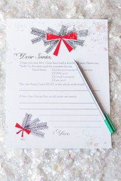 Dear Santa Christmas Wish List Printables by @cydconverse