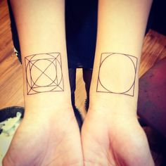 Dutch architect J. L. M. Lauweriks's compositional theory elaborating grid systems from a square circumscribed around a circle.  Tattoo by Jerry, Flyback Tattoo, Singapore.