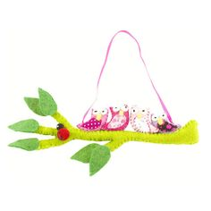Felted Owls on a Hanging Branch - Pink Handmade Fair Trade