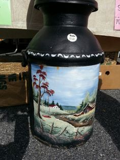 Painted milk can at Amish market.  Oxford Pa