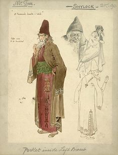 The Merchant of Venice  His Majesty's Theatre, 1908  Costumes designed by Percy Macquoid    Percy Macquoid (1852-1925)  Costume design for The Merchant of Venice, 1908  Herbert Beerbohm Tree as Shylock  Previous * Index * Next