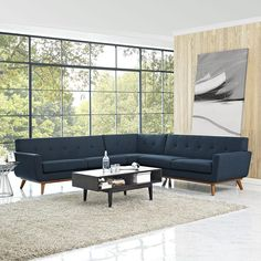 Modway Furniture Engage L Shaped Sectional Sofa In Azure Eei 2108 Azu Set