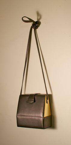 1980s Grey Leather with Gold Panels Box Handbag