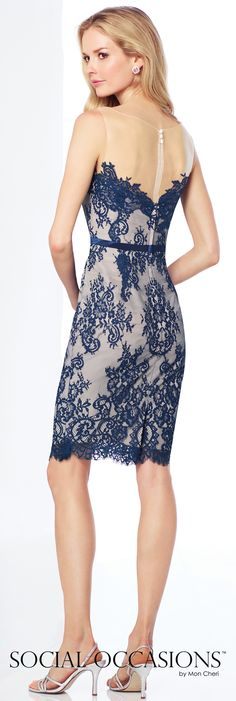 Short Evening Dresses by Mon Cheri - Spring 2017 - Style No. 117802 - navy blue short lace evening dress with beige Mikado jacket