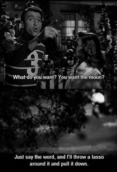 """""""What do you want? You want the moon? Just say the word and I'll throw a lasso around it and pull it down. Hey. That's a pretty good idea. I'll give you the moon"""" - George Bailey"""