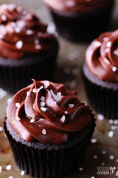 Salted Dark Chocolate Cupcakes | gimmesomeoven.com GORGEOUS!