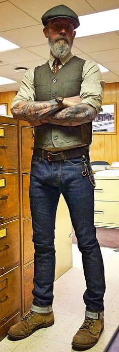 The Stronghold selvage raw denim jeans, RRL tab collar wor… | Flickr