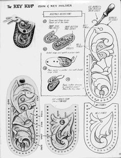 ru / Photo # 36 - Shtolman + sketches + for + carving + stamping + leather - vihrova Leather Knife Sheath Pattern, Leather Wallet Pattern, Leather Mask, Leather Tooling, Leather Bags Handmade, Leather Craft, Leather Working Patterns, Diy Vintage, Leather Carving