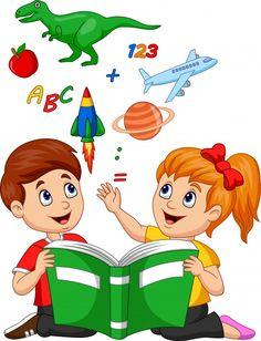 Cartoon kids reading book education concept vector image on VectorStock Kids Reading Books, School Frame, School Murals, School Painting, School Clipart, School Decorations, Cartoon Kids, Books To Read, Preschool