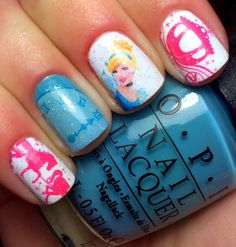 Nails by an OPI Addict: Disney Princess Nails: Cinderella. Can  get pocahonats nails? is that possible?