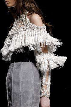 Cold shoulder dress with pearl embellishment & tassel fringe; fashion details  // Balmain Fall 2016