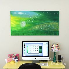 Dandelion Painting on Canvas by Amanda Formaro--I love this painting. Also, that button lampshade is adorable!
