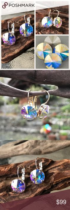 Handcrafted earrings with Swarovski crystal 190 Choice of brand-new, never worn handcrafted crystal earrings in a beautiful silver setting or gold setting. The crystal is a magnificent Aurora Borealis. My husband and I make jewelry using genuine Swarovski crystals. All items are new and much prettier in person than pictures. Proceeds used to help our 5-yr-old granddaughter Lila May in her fight against cancer, but she lost her battle. Now she is dancing with the angels. A percentage of…