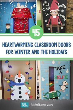 45 Heartwarming Classroom Doors for Winter and the Holidays. Set the festive mood with these cute and clever winter and holiday classroom doors. They're sure to bring cheer to the season! School Door Decorations, Christmas Door Decorations, Christmas Crafts For Kids, Door Crafts, K Crafts, Classroom Door, Classroom Routines, Classroom Organization, Organization Ideas