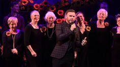 Gary Barlow and Tim Firth with the cast of 'The Girls Musical at the Lowry Theatre in Salford on January 2016 perform 'Dare' as a curtain call to the show Gary Barlow, Calendar Girls, Curtain Call, Dares, Musicals, It Cast, Concert, Youtube, Concerts
